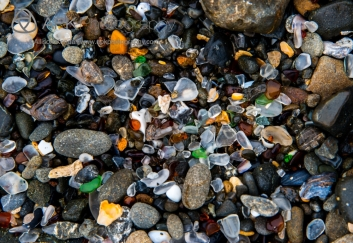 Details of Glass Beach at Fort Bragg, Mendocino, California