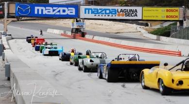 HMSA racing participants line up on the starting grid of Laguna Seca Raceway, Monterey