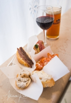 A selection of cicchetti, wine and beer served at a legendary Venitian bar called All' Arco