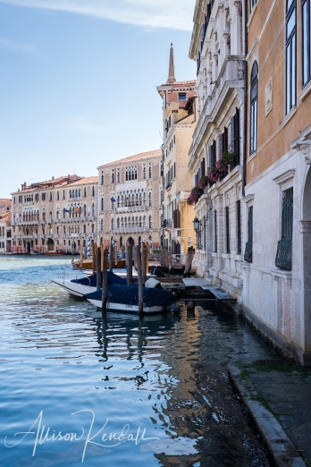 View of the Grand Canal in late afternoon light, on a summer day in Venice, Italy